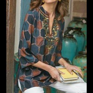 New Soft Surroundings M Morocan Beaded Tunic Shirt